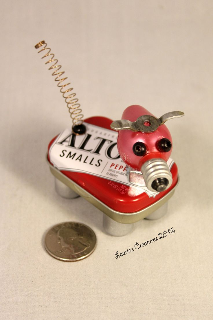 """""""Little Red 2"""" ~ Found object, junk art created by Laurie Schnurer in 2016. To purchase one of Laurie's Creatures click on this link to her sales page. https://www.facebook.com/LauriesCreatures/"""
