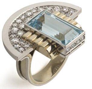 Jean Després, bague, 1937, platine, or, diamants, aigue-marine  musée des Arts décoratifs, Paris