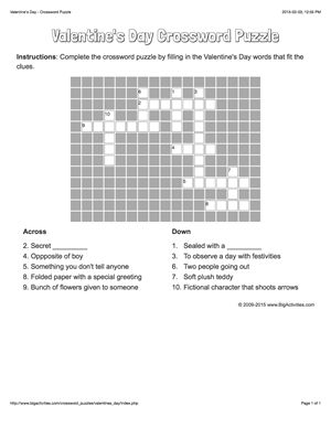 Try a Valentine's Day crossword puzzle (puzzle changes each time).