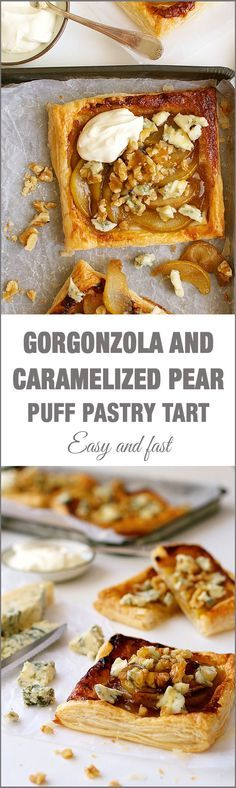 Caramelized Pear Blue Cheese Gorgonzola Tart - incredible flavour combination. Easy, good value gourmet food!