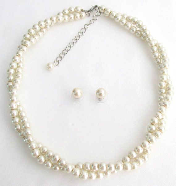 Twisted Statement Necklace, Wedding Bridal Jewelry, Bridesmaid Necklace Gift Ivory Pearl 2 Strand Necklace Stud Earrings