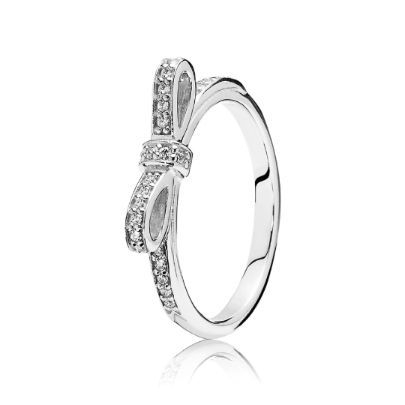 Pandora Silver Delicate Bow Ring 190906CZ. This beautiful Pandora ring has been crafted from sterling silver and shaped into a delicate bow. A wonderful accessory encrusted with gemstones for that extra special sparkle.