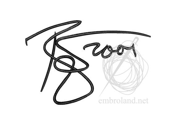 David Bowie signature autograph Machine Embroidery Design