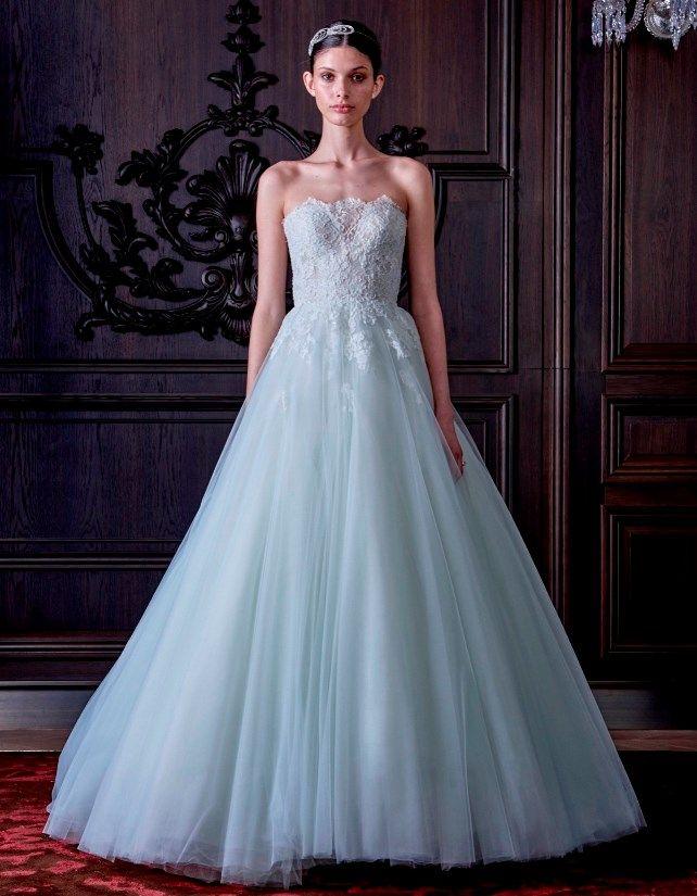 Abiti da sposa azzurri 2016 - Monique Lhuillier