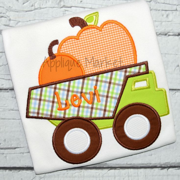 Fall is a great time to create that special outfit. This Pumpkin Dumptruck applique design is sure to highlight the festivity of the season.