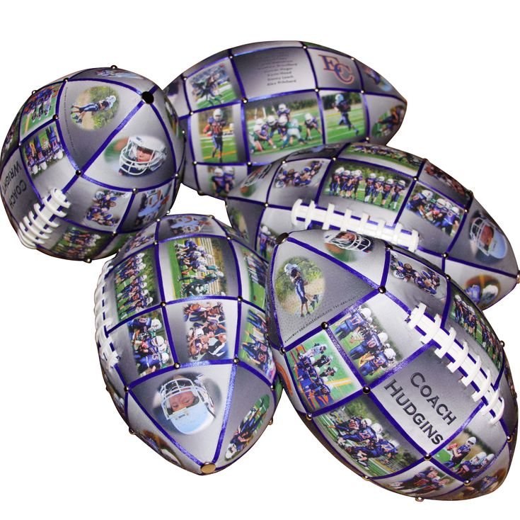 football photo ball- Give a Unique Football Gift that will have meaning for years to come! Want to say thanks to coach? Send us up to 32 photos and you will have a uniquely created photo collage emblazoned on your football. Each panel will be accented with a color-coordinated ribbon and your choice of either silver or gold studs. Each of these photo collage footballs are handmade which means that your gift will truly be unique!