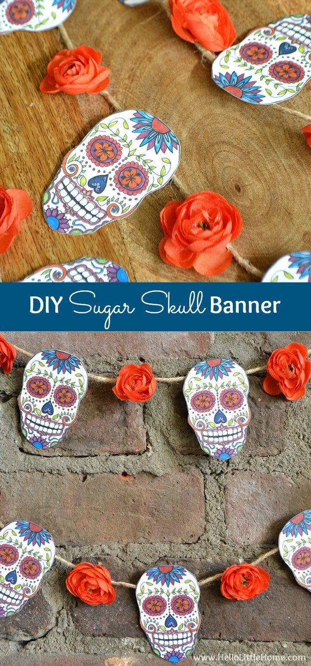 Decorate for Day of the Dead with this DIY Sugar Skull Banner! There's a free printable for the images! | Hello Little Home #DiadeMuerto