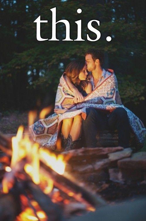 Cuddling by a fire