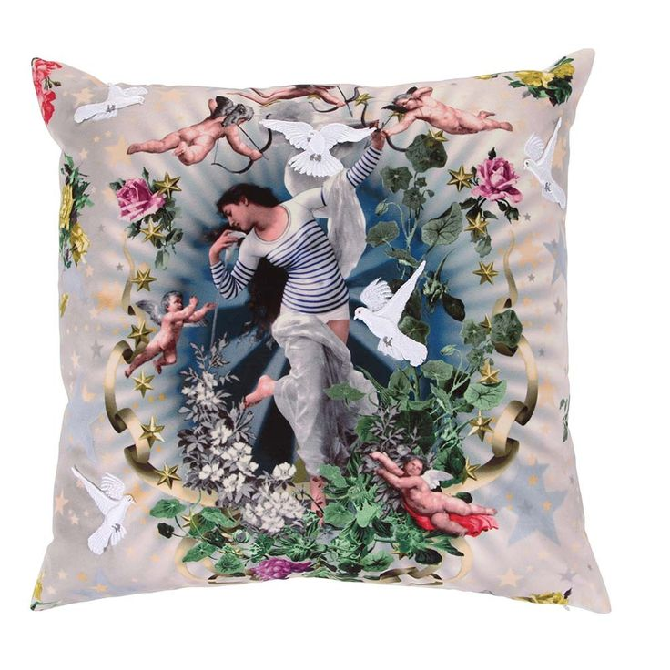 Bring instant colour to any room in your home with this stunning Volage cushion from Jean Paul Gaultier. Beautiful in design, it features an enchanting print of a woman surrounded by cherubs, flowe...