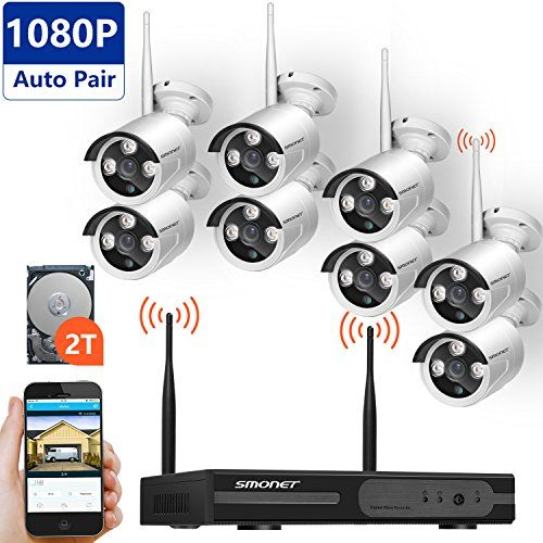 [Full HD]Wireless Surveillance Camera System, SMONET 8CH 1080P HD Outdoor Security Cameras Video System-8PCS 2.0MP Weatherproof Bullet IP Cameras,P2P,65ft Night Vision, 2TB HDD