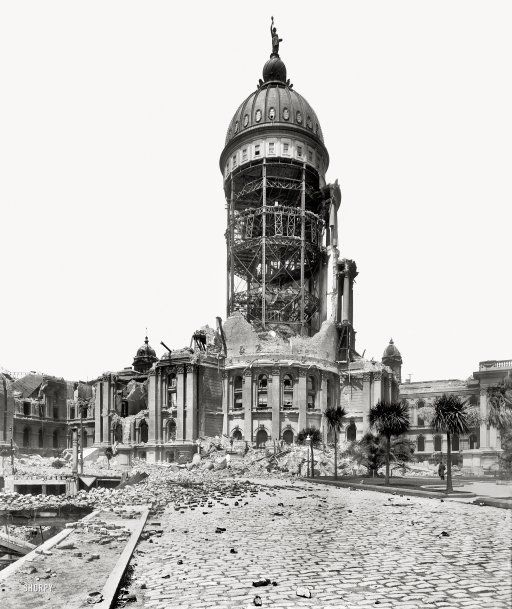 """City Hall:1906"", The tower of San Francisco City Hall after the April 18, 1906 earthquake and fire."