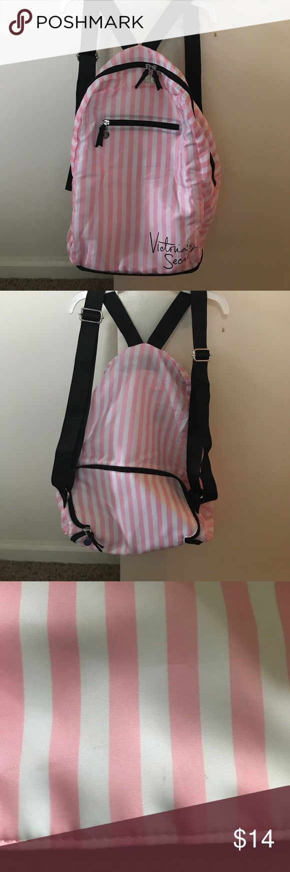 Victoria secret travel backpack Black and pink striped Victoria secret travel backpack. Never used. Was new with tags but had to wash to get ink out of. There is a few little spots in the last pic. Victoria's Secret Bags Backpacks
