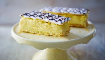 Custard Slice  http://www.bbc.co.uk/food/recipes/custard_slice_58534