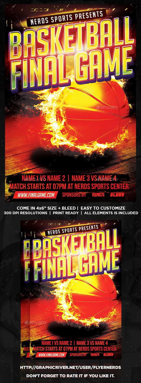 Basketball Finals Game Sports Flyer by flyernerds Basketball Finals Game Sports Flyer Description :46 with bleedPrint Ready ( CMYK, 300DPI ) Easy to edit and fully customizable All