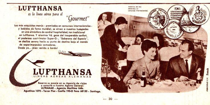 """Lufthansa es la línea aérea para el""""Gourmet"""". Lineas Aéreas Alemanas. Agente General: Ultramar -  Agencia Marítima Ltda.  Publicado en Revista Estadio N°785 de 13/06/1958."""