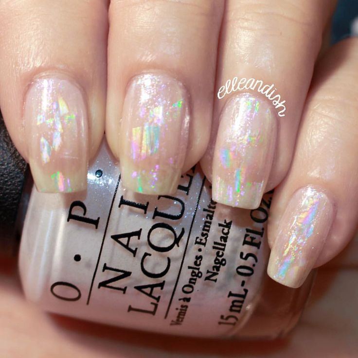 NEW VIDEO! ⚪️ Sheer holographic / opal nails!  Layer sheer holographic nail foils over pearly nail polish for a subtle rainbow effect, or apply on top of black nail polish to bring out the rainbow holographic colors! <To watch, click on the link in my IG bio!>