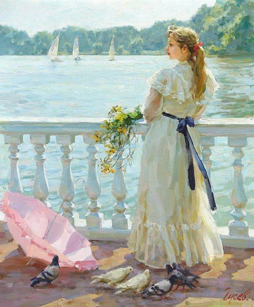 Painting by Vladimir Gusev .... HOW LOVELY, I LOVE THE PIGEONS SO REAL LOOKING