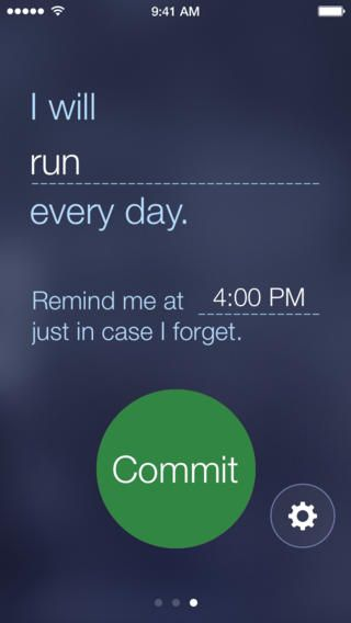 Commit App: a daily reminder to love yourself, to live your dreams or anything you want to commit to. #AppsWeLove #WeWork