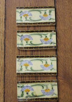 "Reclaimed Fireplace 3"" x 6"" Tiles. Art Nouveau design. Henry Richards in Antiques, Architectural Antiques, Tiles | eBay"