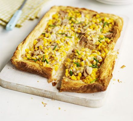 Tuna & sweetcorn slice. This easy budget supper uses ready-rolled pastry to make an open pie - experiment with your own toppings