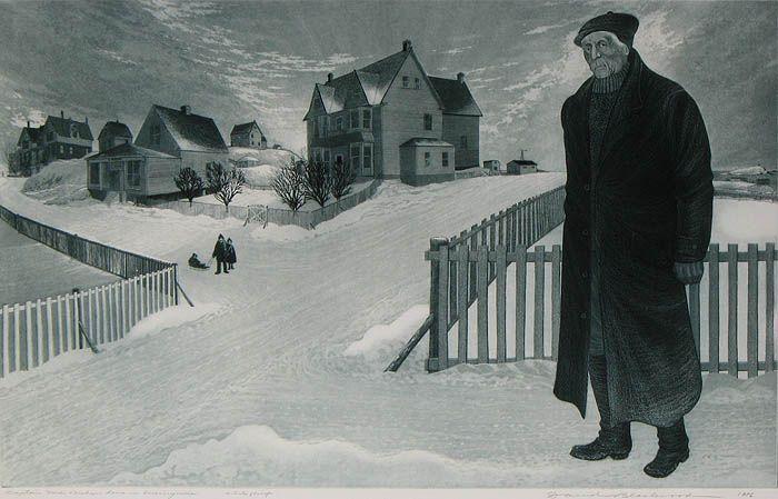 David Blackwood, Captain Ned Bishop Home in Wesleyville, 1976, etching