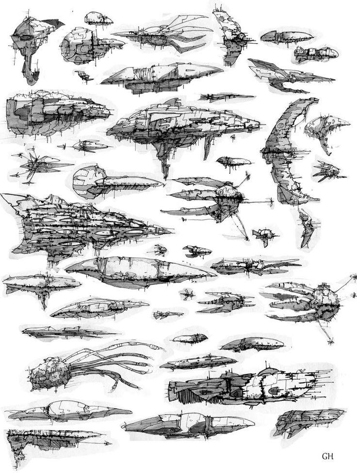 concept ships: Concept ship art by Geoffroy Hassoun