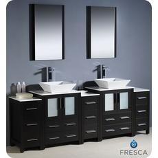 Torino Meuble-lavabo de salle de bains moderne 84 po à évier double espresso avec 3 armoires...