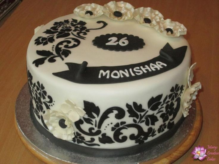 Black and White 26th Birthday Cake. - Cake by Mary Yogeswaran