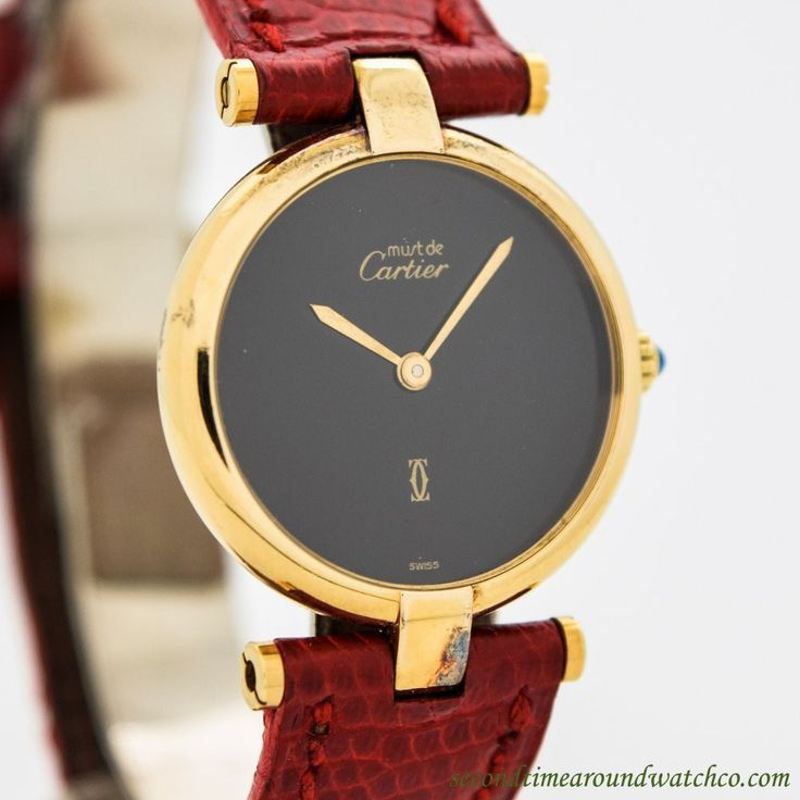 1980's Vintage Cartier Must de Cartier Round 18k Yellow Gold Plated over Sterling Silver with Original Black Dial with Original Cartier Gold Plated Buckle. Case Very Good Case Original, Case Dimension