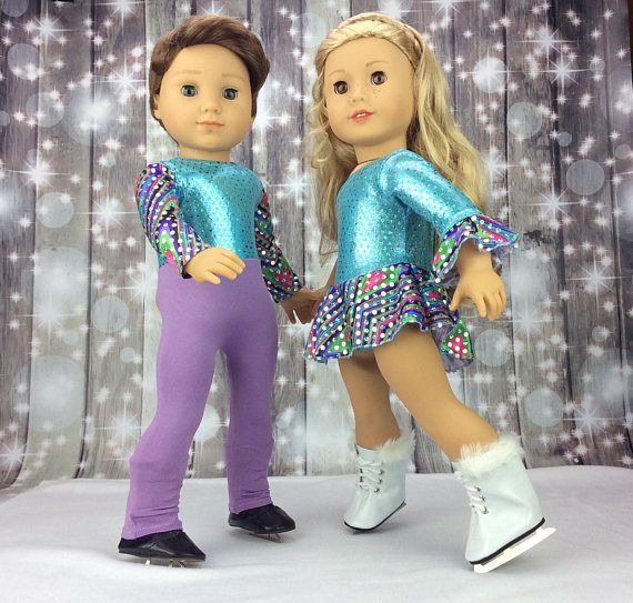 "Doll Clothes 18/"" Ice Skating Lavender Tights Skates Fit 18/"" AG Dolls"