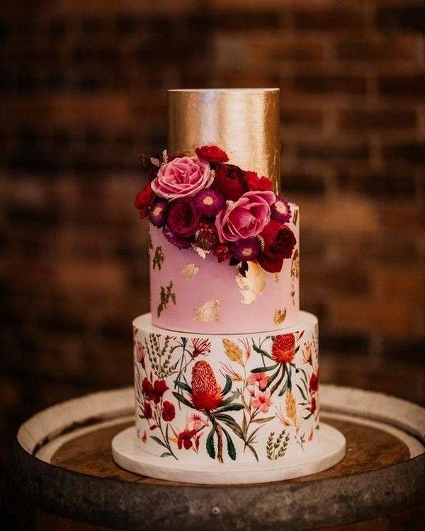 Vintage bemalte Burgunder und Gold Hochzeitstorte 6 #Hochzeit #Hochzeitstorten #Kuchen # …   – Backen – Hochzeit