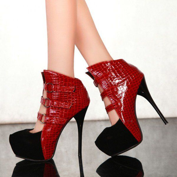 Black and Red Platform Boots Vampire High Heel Shoes for Halloween for Formal event, Party, Music festival, Going out | FSJ