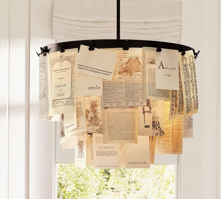 Diy Paper Chandelier 20 Chandeliers Using Vintage Things Very Cute Could Use This Idea For A Regular Lamp Shade Too