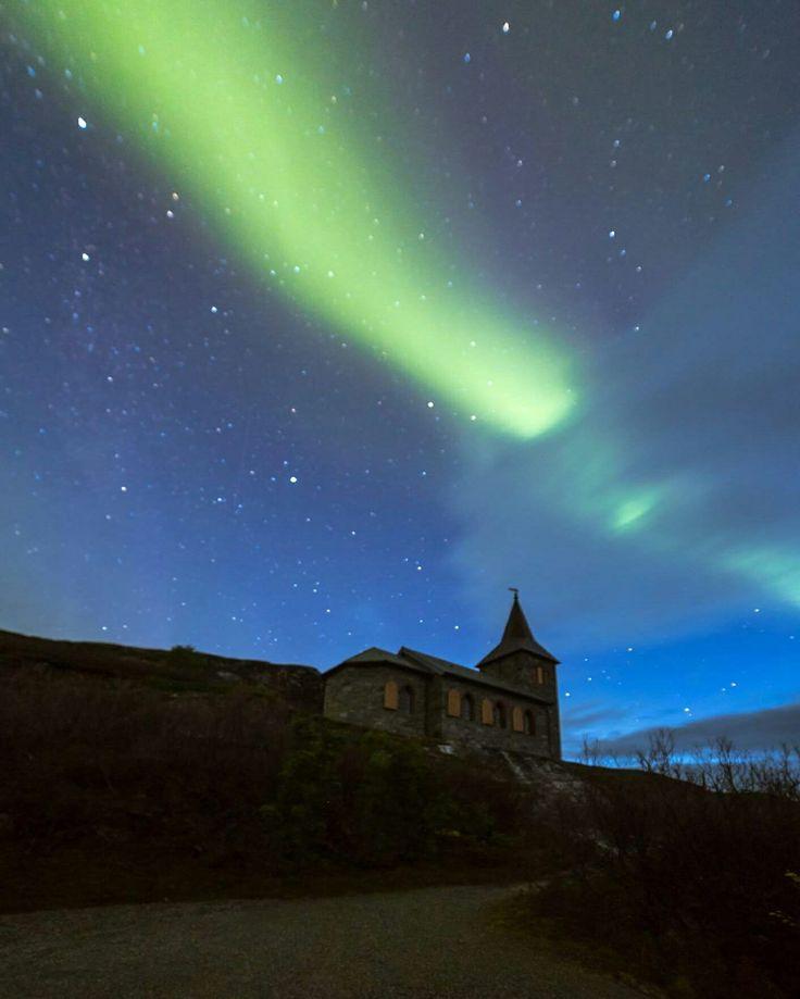 Aurora borealis over Kong Oskar II chapel in Grense Jakobselv. Kirkenes astrocamp offer northernlight tours. #northernlights #auroras #auroraborealis #travel #tours #auroratours #aurorachasing #green #church #chapel #aurorasky #sky #night #dark #Finnmark #Northernlighttrips #Norway #tourism