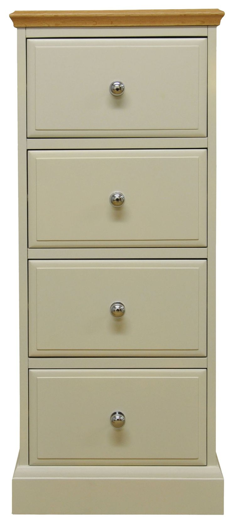 http://www.bonsoni.com/didley-truffle-four-drawer-narrow-chest-of-drawers-with-oak-top-by-kaldors  This Four Drawer Narrow Chest of Drawers brings the appeal of painted furniture with contrasting oak top for a true twist on country style. Choose from metal or oak knobs supplied with every piece.     http://www.bonsoni.com/didley-truffle-four-drawer-narrow-chest-of-drawers-with-oak-top-by-kaldors