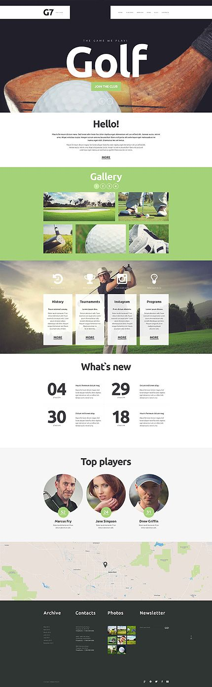 Template 52364 - Golf Club  Responsive Website Template #marketingsportowy #marketingwsporcie