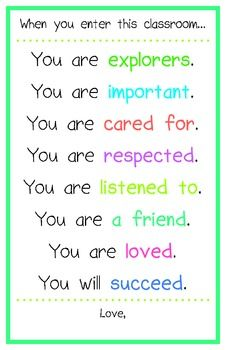 'You are...' Classroom Poster