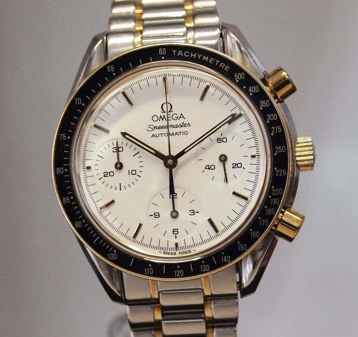 omega speedmaster automatic in steel and gold #omega #skjwatches #themews www.skjwatches.co.uk