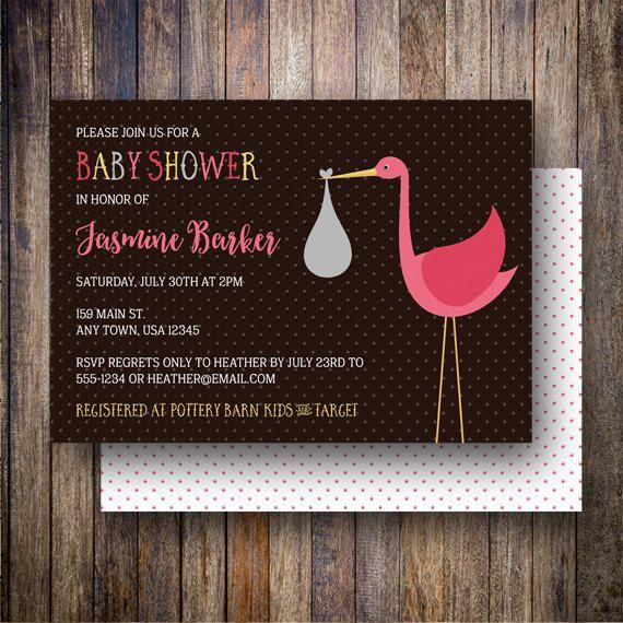 Stork Baby Shower Invitation, Baby Girl, Stork Baby Shower Invite, Printable Stork Baby Shower Invitation - Modern Stork in Brown and Pink - Spotted Gum Design - Etsy
