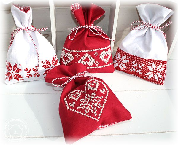 Weihnachts-Säckchen ITH, alles mit der Stickmaschine gestickt Stickdatei vom Stickbär
