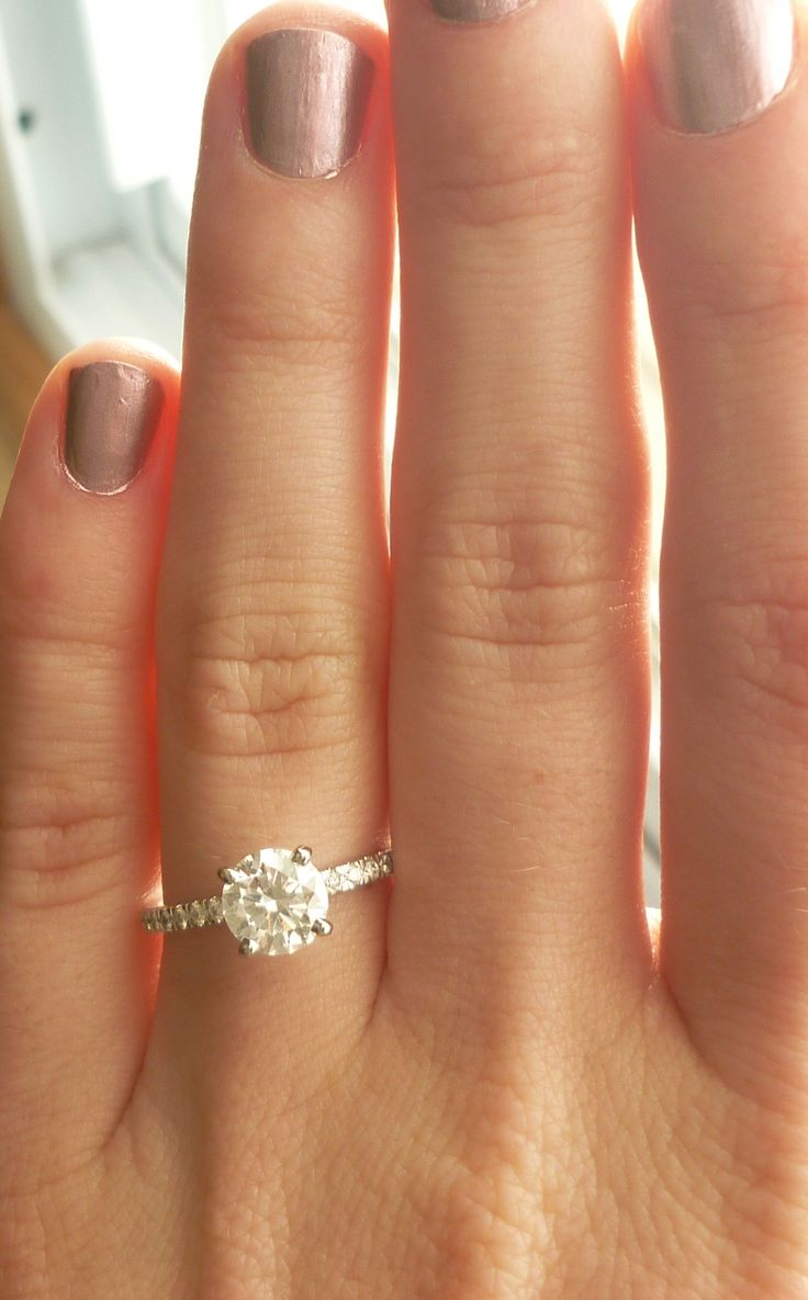 Engagement Ring - Round Brilliant Cut with Petite Pave Band EXACTALLY WHAT I WANT!!!!!!