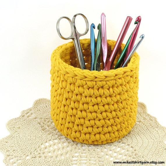 Yellow Crochet Bowl made using Recycled T Shirt by MikesTShirtYarn, $12.00