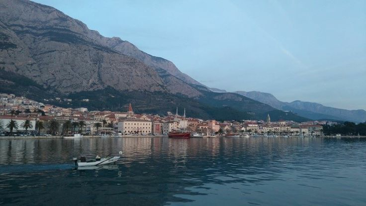 Just now: the day's final light falling on the old port town of Makarska on Croatia's Dalmatian Coast.