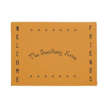 #Orange Shade Door Mat with Optional Text - #doormats #home & #living