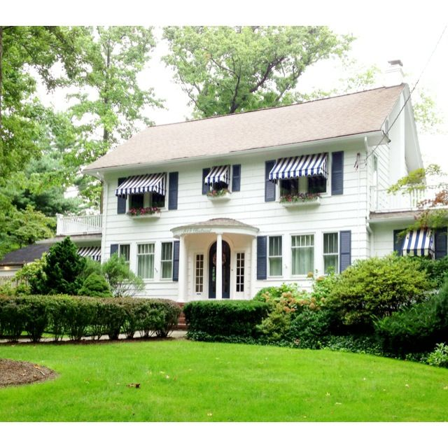 Quality Home Exteriors Design: White Colonial House Exterior, Navy Shutters, Striped