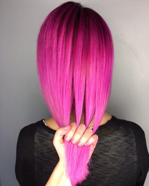 Think pink 'Chocolate Cherry' melting into 'Bunny' #UnicornHair by @elissawolfe.