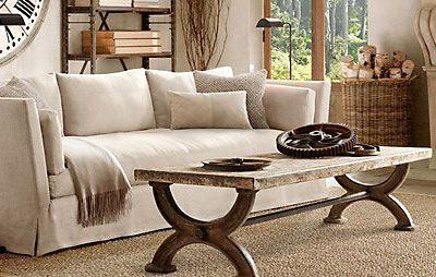 A living room setting by Restoration Hardware