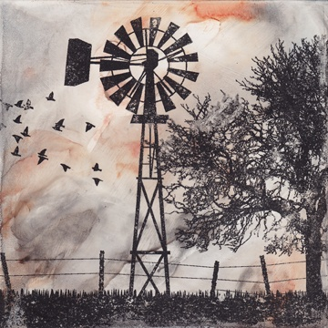 """An American Morning""  Solvent Transfer on Clayboard  (5"" X 5"") © 2011 Cameron Kaseberg I love solvent transfers- never know what you may get!"
