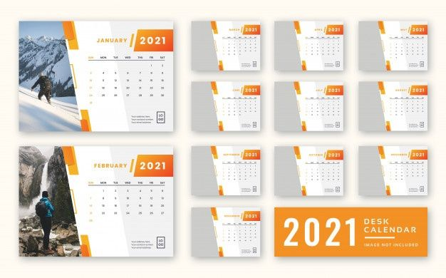 2021 Desk Calendar Template in 2020 | Desk calendars, Desk