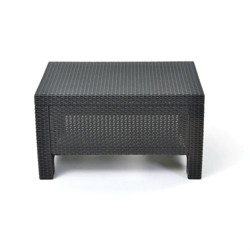 Contemporary Outdoor Coffee Table in Durable Black Plastic Rattan